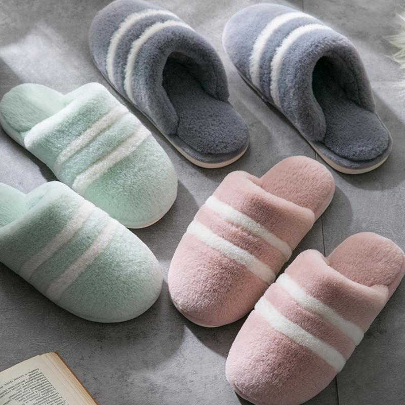 家居拖鞋冬居家室内情侣家用防滑软底地板保暖毛毛棉拖鞋女冬季男