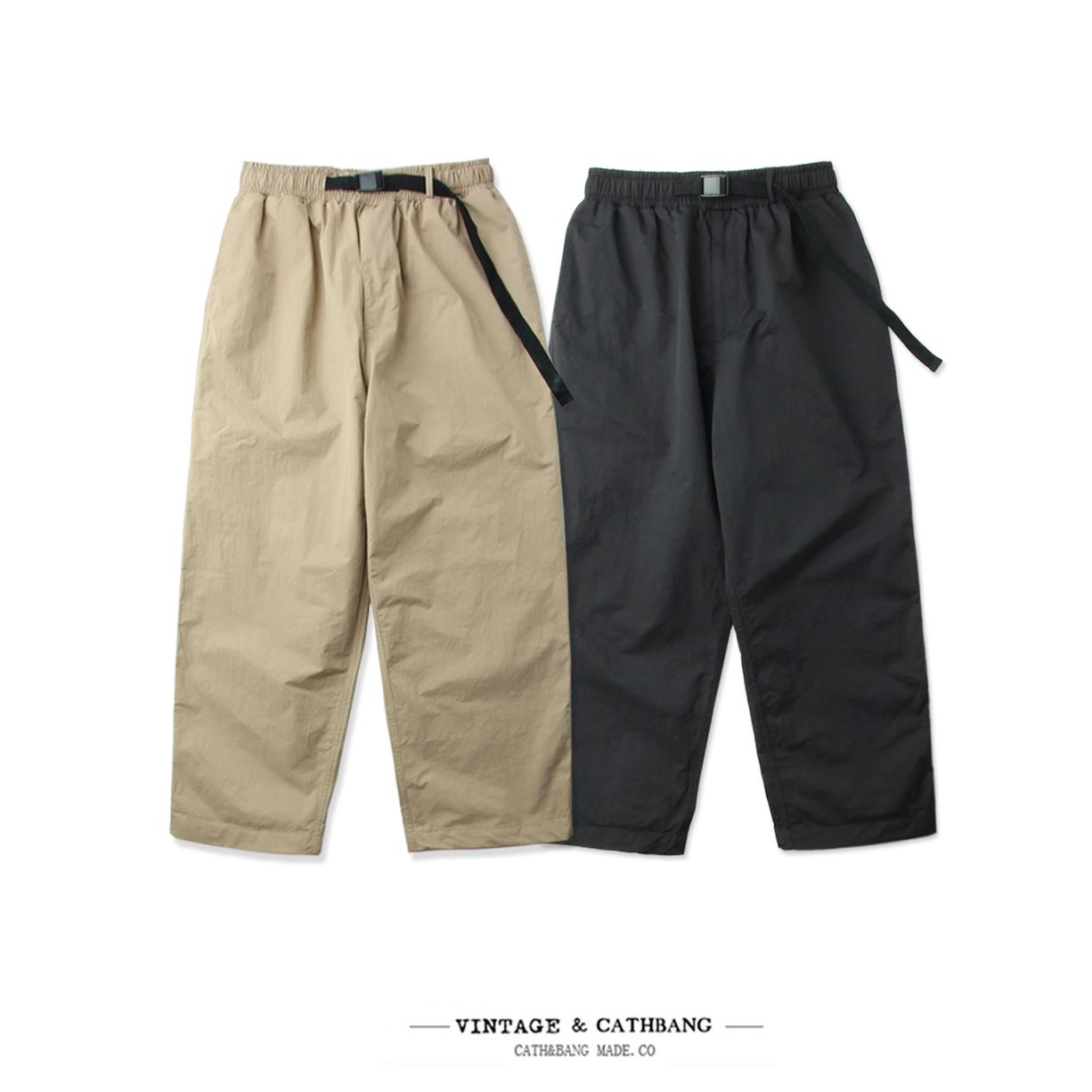 Cath&Bang潮牌夏季薄款潮流日系复古男款超宽松男女9分直筒工装裤
