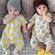 夏款短袖纯棉婴幼儿连体哈衣男女宝宝夏季爬服衫空调服睡衣连身衣