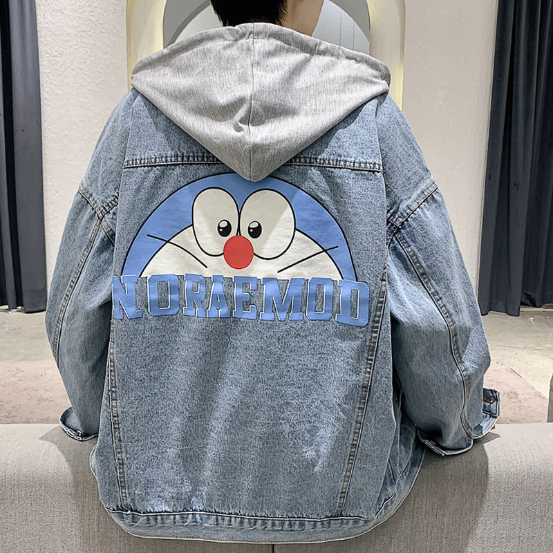 2021 autumn new Korean lazy wind loose casual top detachable hooded jacket mens jeans jacket fashion