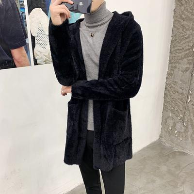 冬装新款加厚水貂绒连帽外套男士潮流中长款毛呢大衣DY02-P198