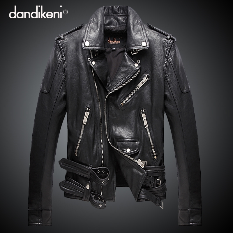 Haining leather jacket locomotive leather jacket men's short sheepskin self-improvement Korean version handsome Harley youth jacket trend