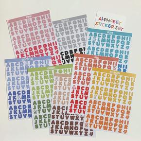 韩国wannathis糖果色英文字母数字贴纸手帐拼贴装饰素材DIY标记贴