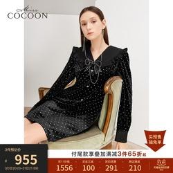 双11预售missCOCOON法式V领黑色长袖连衣裙2021秋新款赫本风裙子