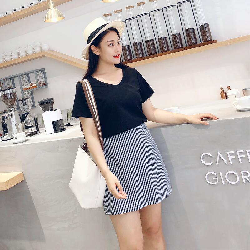 罗拉家 胖MM大码女装2018夏新日系显瘦潮复古像素风格子半身短裙