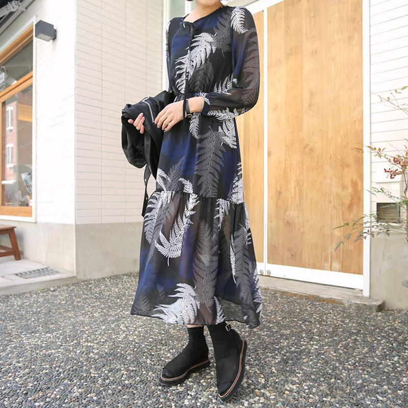 罗拉家大码女装定制款街头风 时尚打底胖mm中长款雪纺长袖连衣裙