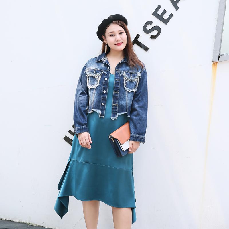 罗拉家 胖MM大码女装2018秋新日系复古水原同款bf风个性牛仔外套