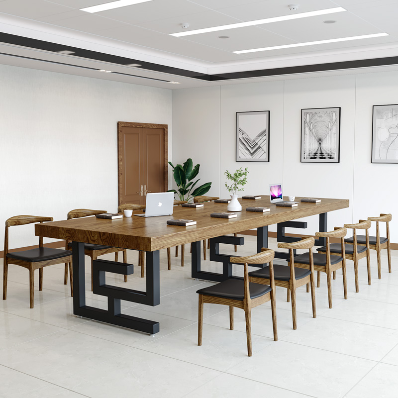 Solid wood conference table long table modern simple office training table simple new Chinese large Nordic Industrial style furniture
