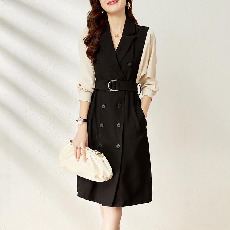 优雅知性西装裙通勤ol风格西装领双排扣长袖高腰系带a字连衣裙女