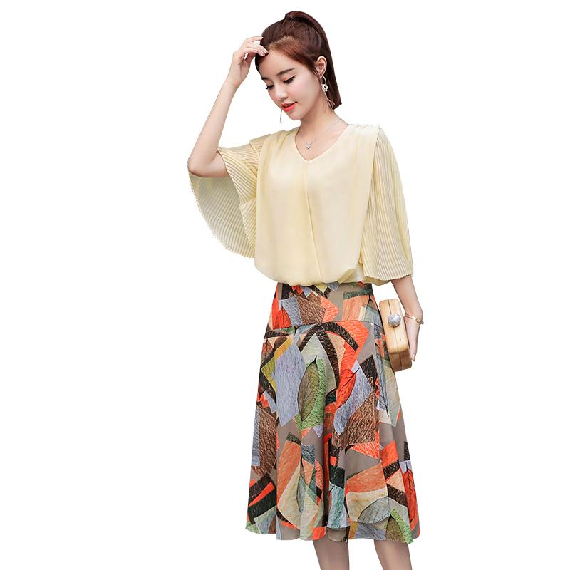 2018夏装新款气质小香风雪纺连衣裙两件套时髦套装矮个子淑女套裙