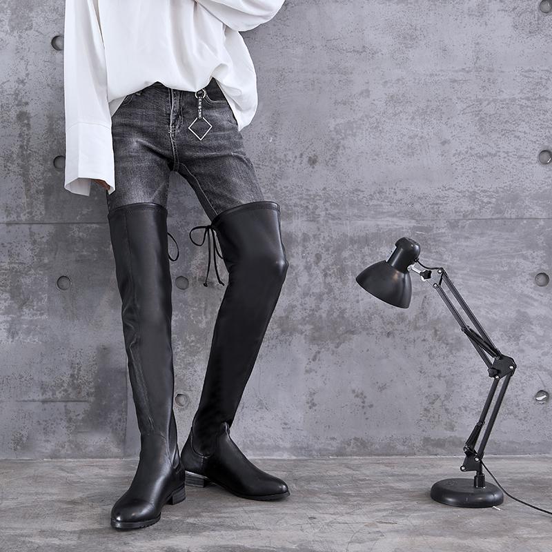 2018秋冬新款平跟过膝长靴女圆头绒面瘦腿弹力靴大码男靴45 46 47