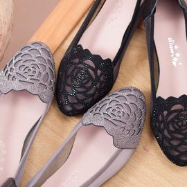 凉鞋女平底妈妈鞋真皮软底防滑网纱镂空洋气夏季舒适牛筋底洞洞鞋