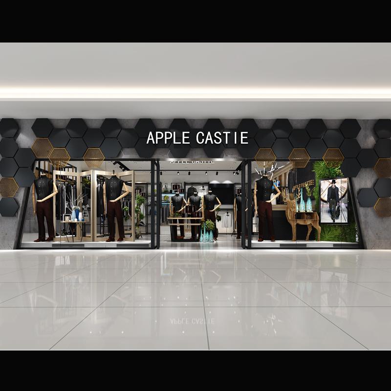 商业空间原创设计3D模型轻奢男装商场店铺店面橱窗专卖店临街门头