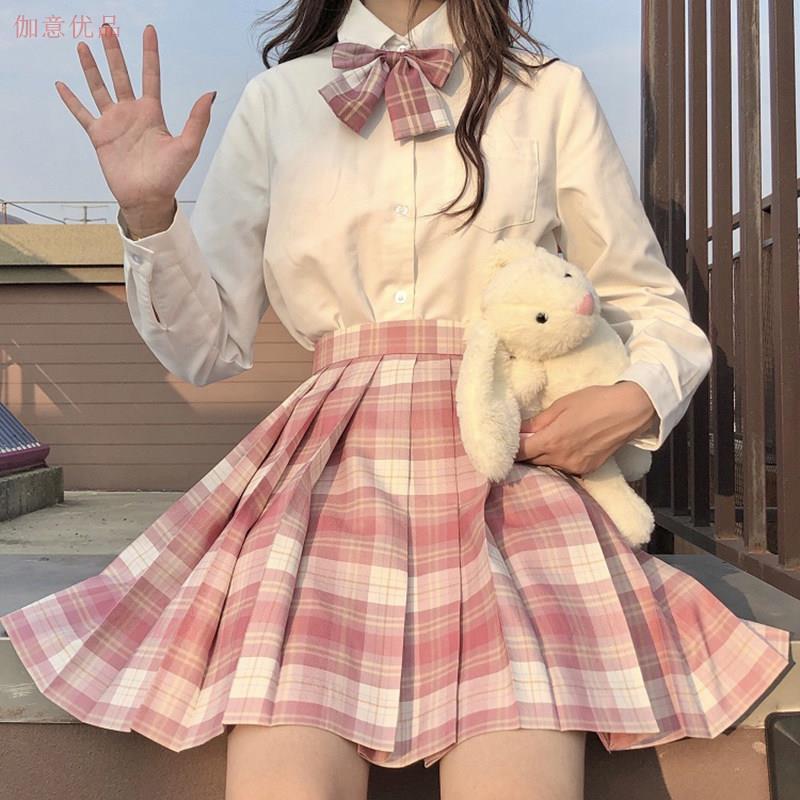 格子裙百搭半身裙学生春秋春秋季现货jk制服女子格裙套装裙子衬衫