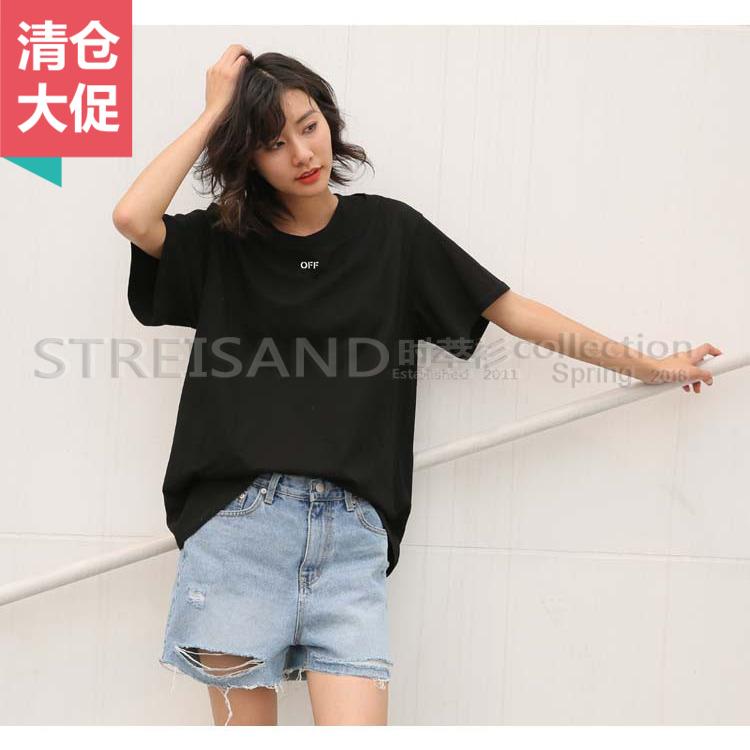 韩国东大门订单墨写出品2018夏季中袖女T恤宽大范儿8036
