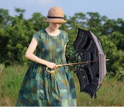 壹旧原著夏季薄清透苎麻森林绿抽象图案立体褶圆领宽松连衣裙4013