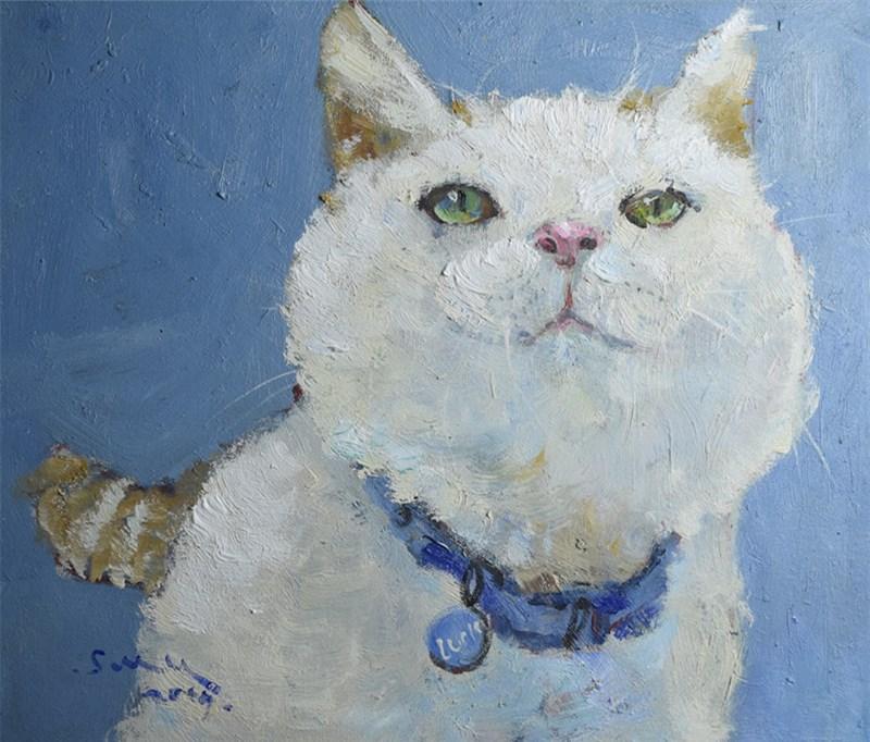 收藏包邮可定制原创油画胖猫系列简约现代风格书房客厅玄关挂画