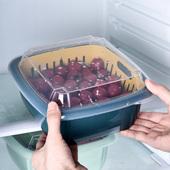 冰箱沥水保鲜盒厨房带盖密封水果蔬菜双层塑料家用收纳保鲜盒A