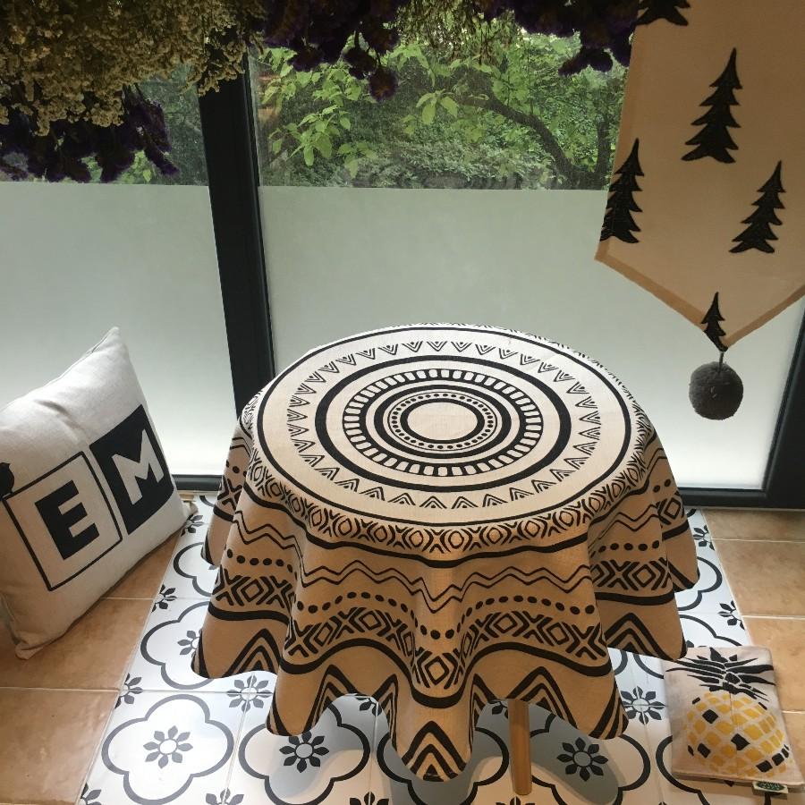棉花大盗 菠萝原创简约黑白餐桌布艺 茶几布艺圆形桌布台机台布