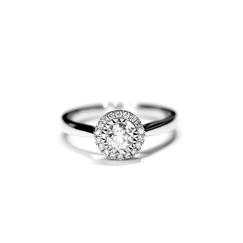 天然南非钻石戒指 18k白金镶嵌戒子 求婚 结婚纪念日定制女戒甜美