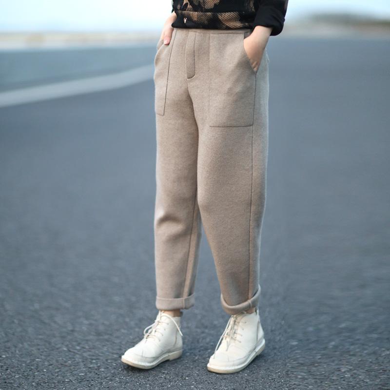 晓说 简约气质百搭显瘦加厚毛线针织裤长裤女韩版2018冬装新款