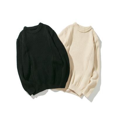 MY02 日系秋冬新款男士纯色圆领套头针织毛衣加肥大码P65【控88】
