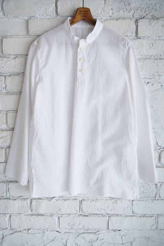 日本代购 Yaeca 长袖立领衬衫 休闲宽松印度棉 圆领白衬衣2020ss