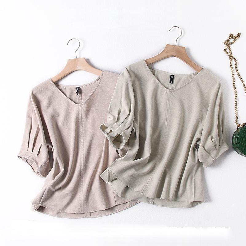 外贸女装工厂尾货夏季新款水洗棉麻衬衣知性通勤V领短袖套头衬衫
