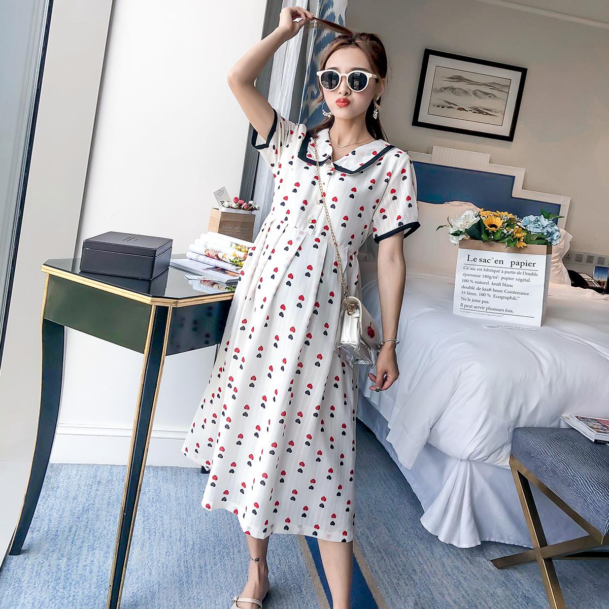 (用30元券)孕妇装夏天裙子2019夏装新款时尚宽松仙女雪纺孕妇连衣裙长款过膝