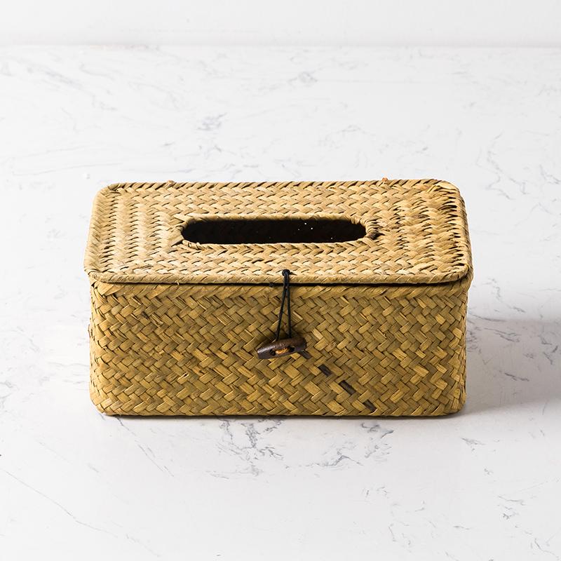 奇居良品 家居装饰柳编草编收纳纸巾盒家用抽纸盒纸巾抽