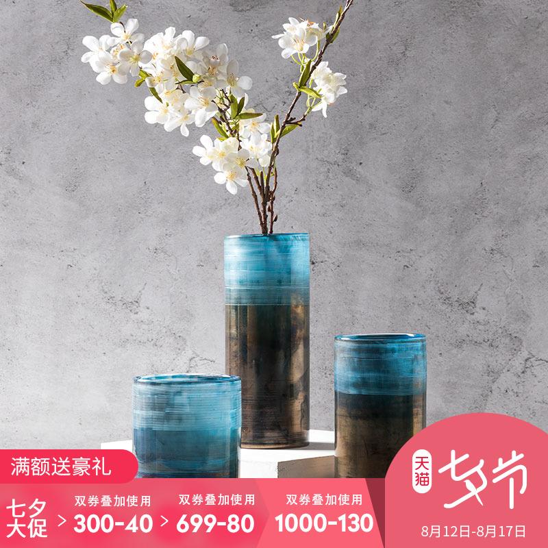 奇居良品现代北欧蓝色圆柱形玻璃花瓶美式样板间家居摆件塔尼娅