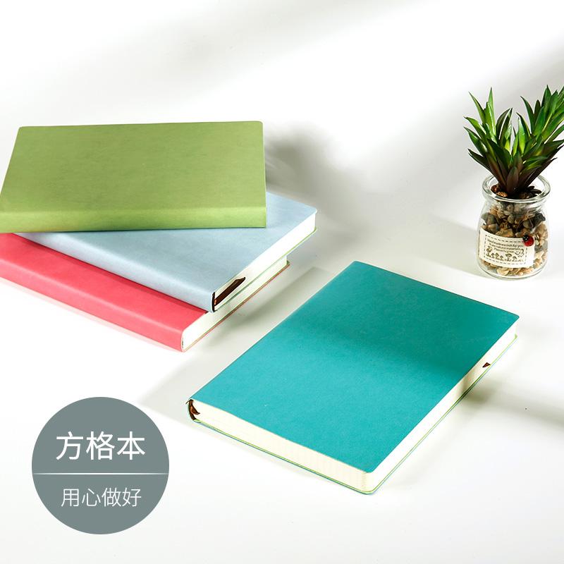 五只蜗牛A5皮面方格笔记本子文具网格厚记事日记创意手账日式手帐