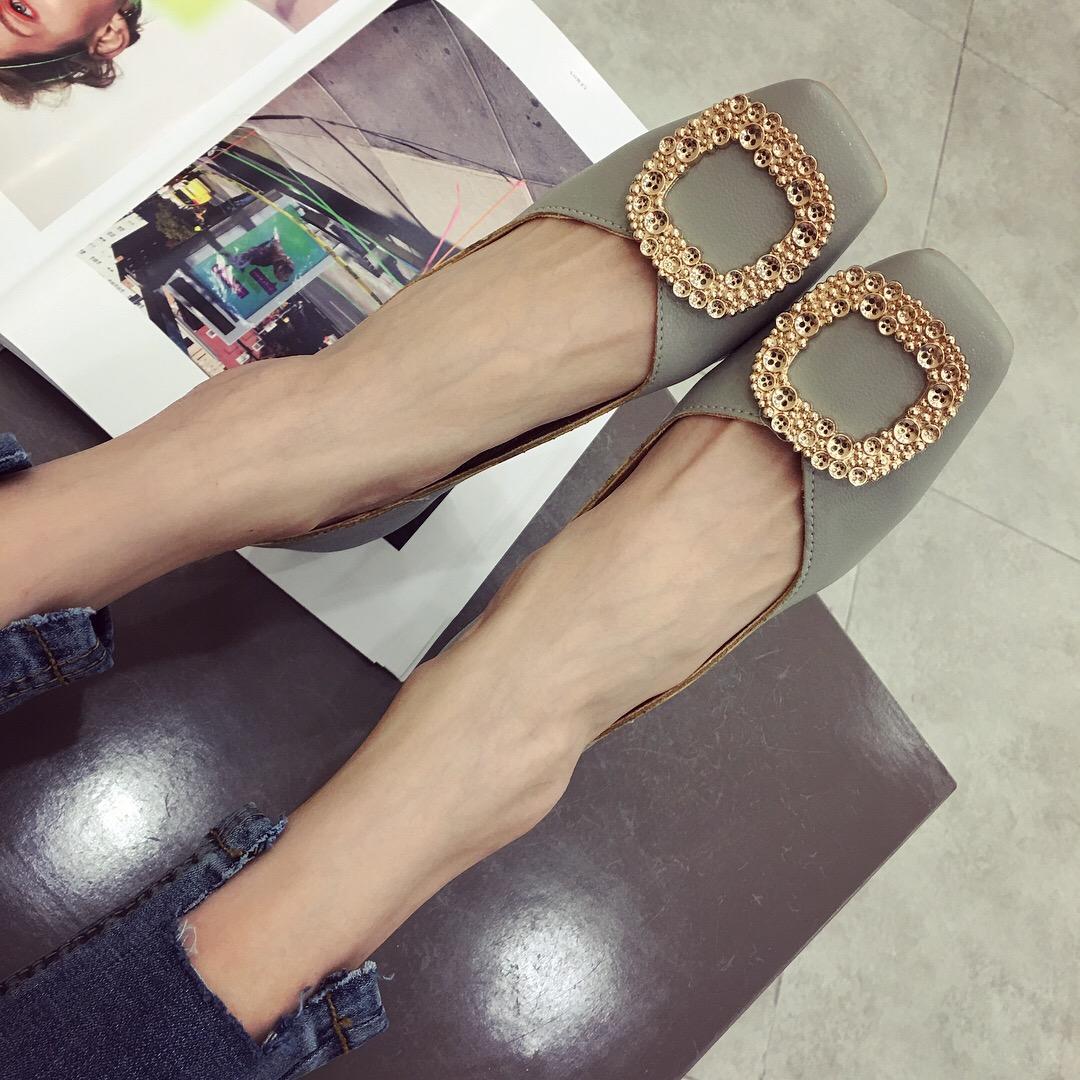 粗跟高跟鞋2018新款韩版ifashion女鞋方头纽扣水钻小香风网红单鞋