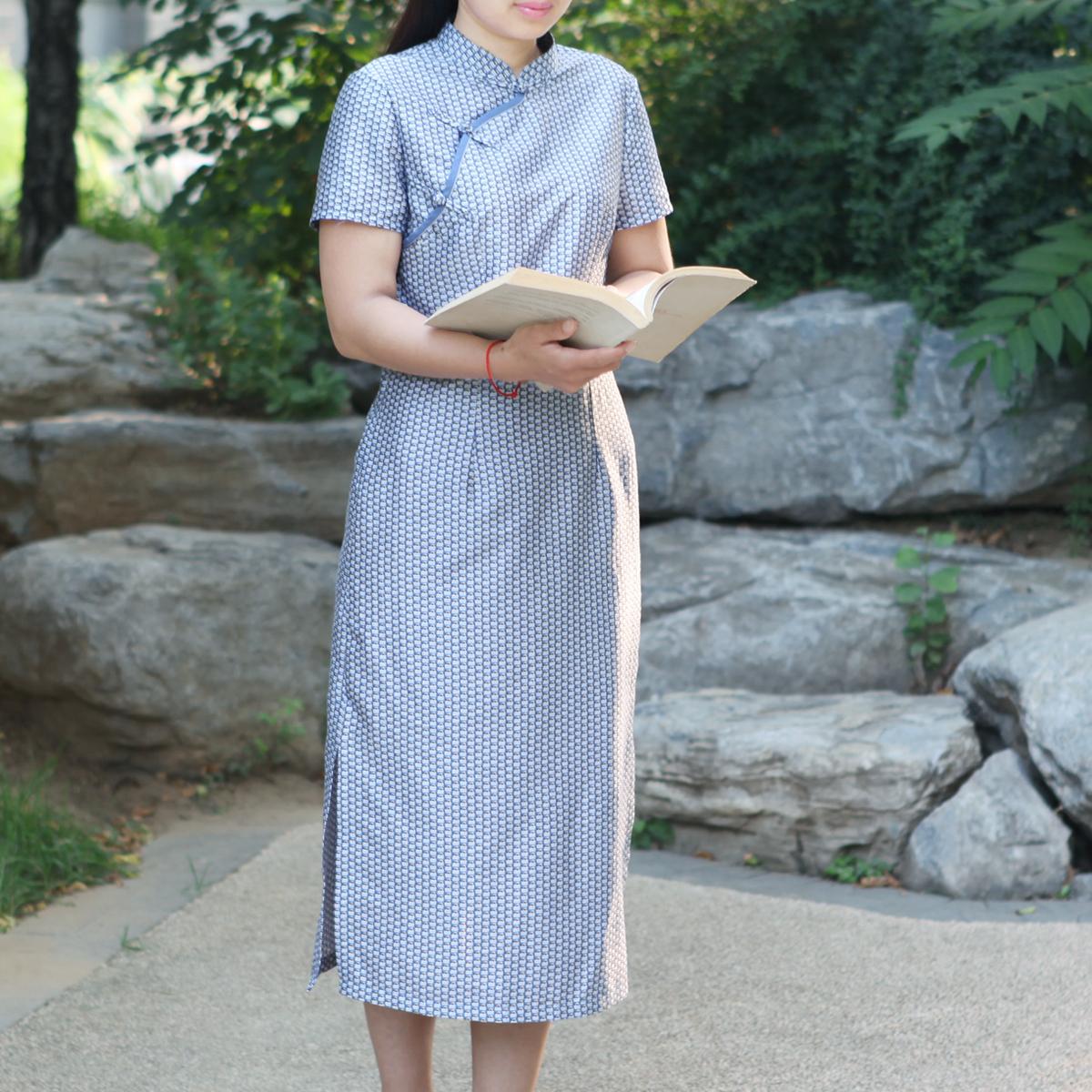 静轩 阿佑朵原创女装 旗袍复古中式改良中国风文艺短袖纯棉印花