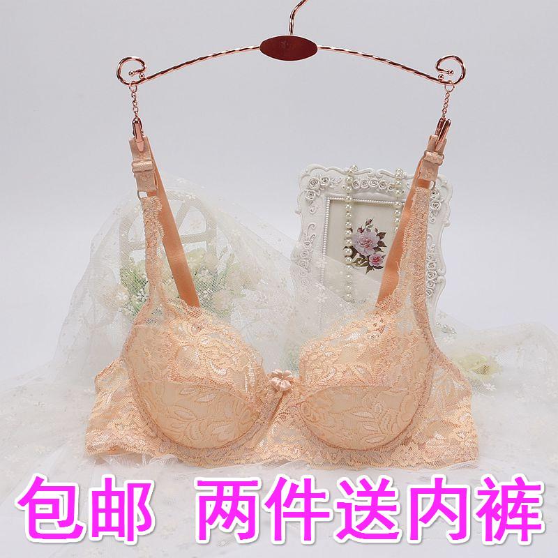 夏季性感蕾丝有钢圈文胸234排B C杯超薄海绵内衣轻薄透气大码胸罩