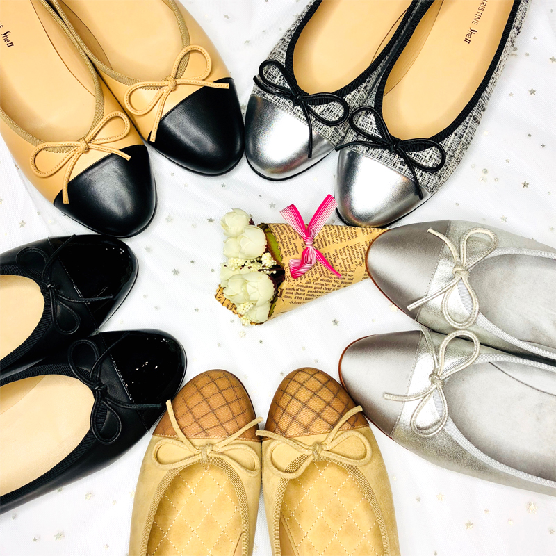 Small fragrant shoes womens flat sole small fragrant ballet shoes bandage retro sweet fairy bow leather flat sole single shoes