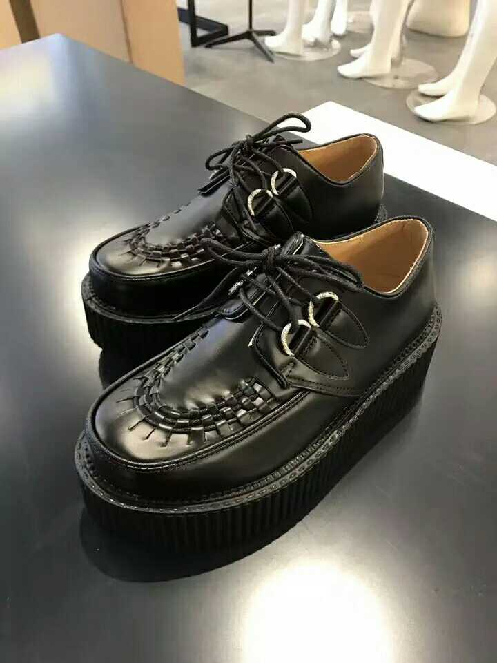 Quality European and American trend Harajuku Classic Lace up low top personalized flat bottomed thick bottomed muffin womens single shoes Pu