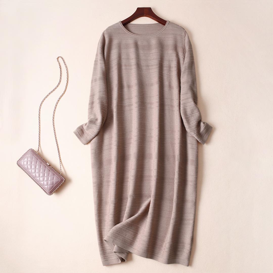 Атмосфера кокон тип долина пульсация круглый вырез тонкий долго шерсть свитер платье осень и зима весна домой O427