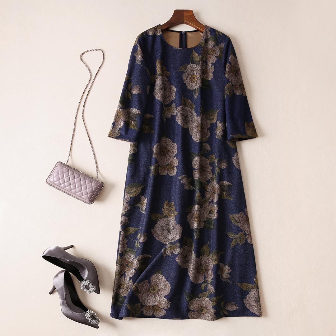¥ 279 второй ! достойный атмосфера элегантный круглый вырез комплекс шерстяной долго платье женский осенний зима Q312