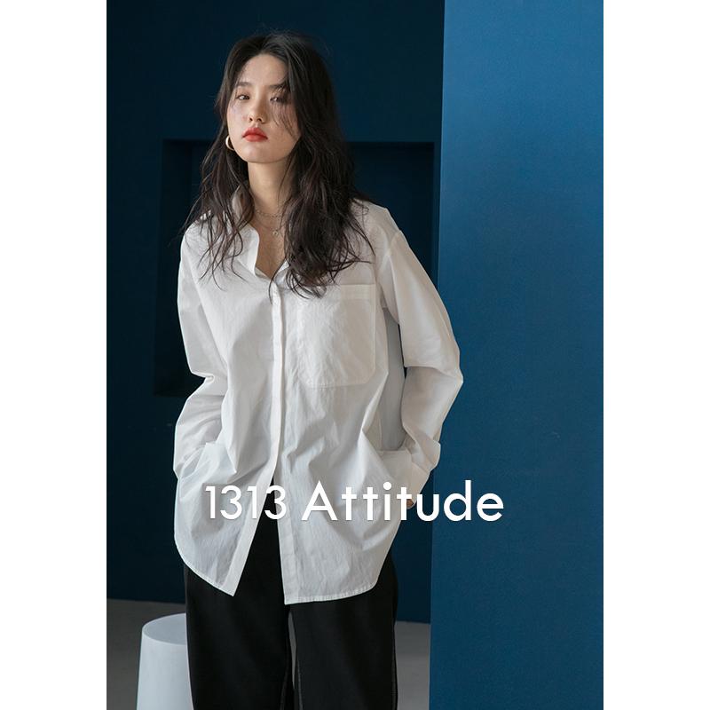 1313春夏白色休闲百搭小翻领宽松范儿时髦通勤棉质衬衫女外穿上衣