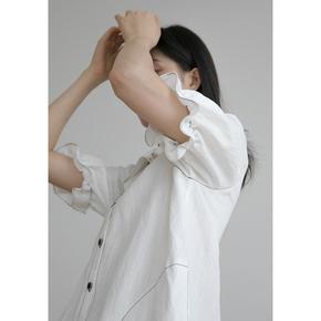 1313英式复古少女感花边袖衬衫裙子 2020女夏宽松显瘦天丝连衣裙