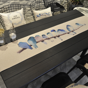 北欧桌旗现代简约中式棉麻鞋柜布盖巾电视柜长条餐桌布茶几床旗巾