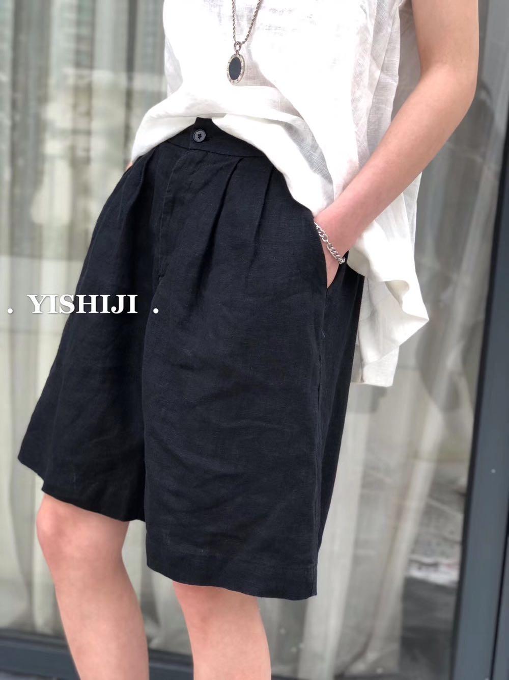 麻裤日系复古条纹工装短裤阿美咔叽情侣宽松休闲裤学生五分裤