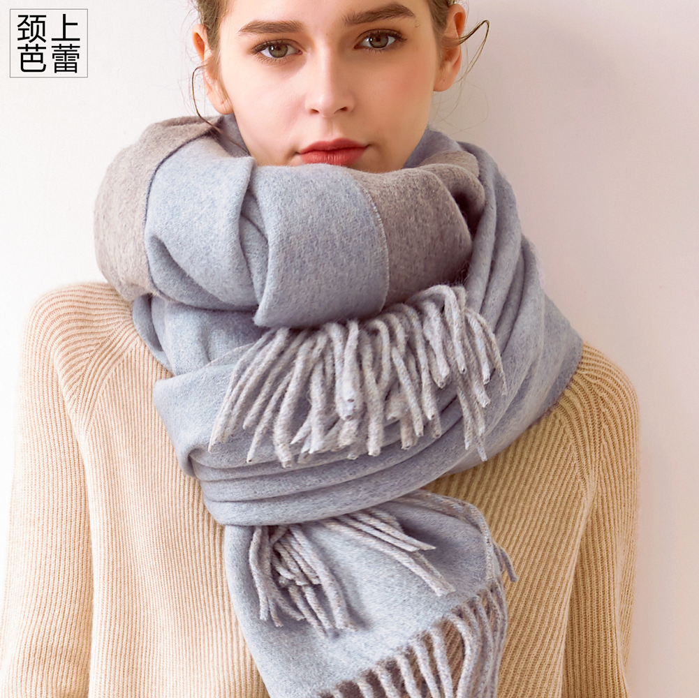 Heavy weight 450g double face wool scarf for women winter shawl dual use Korean version super long versatile solid color thickened warmth