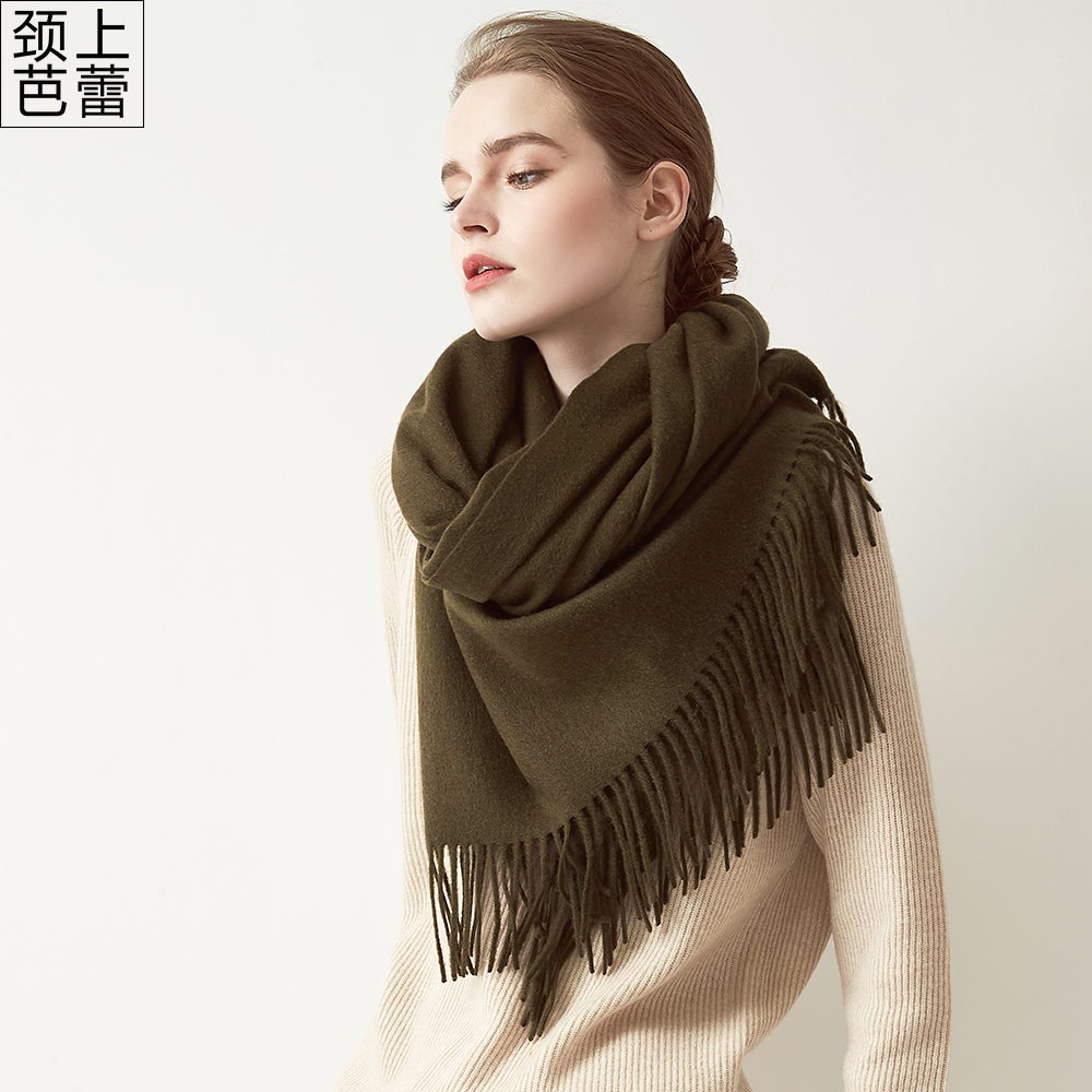 Wool scarf for womens winter extra long warmth in Europe and America