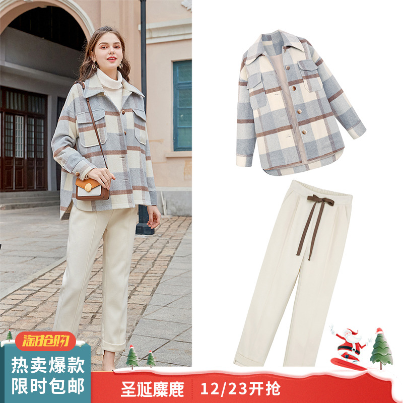 MG小象格子毛呢外套女宽松高腰休闲裤冬季2018新款流行呢子大衣潮
