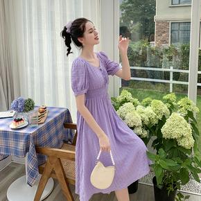 MG小象超仙气质连衣裙女2020夏新款泡泡袖显瘦V领蕾丝花边仙女裙