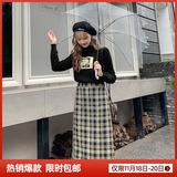 MG小象时尚格子半身裙2019秋冬新款修身中长款A字裙学生复古裙子