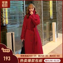 MG小象红色大衣女中长款2019流行新款冬季加厚呢子赫本风毛呢外套