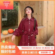 斤秋季中长款胖妹妹蝙蝠袖宽松大口袋抽绳风衣外套200大码冲锋衣